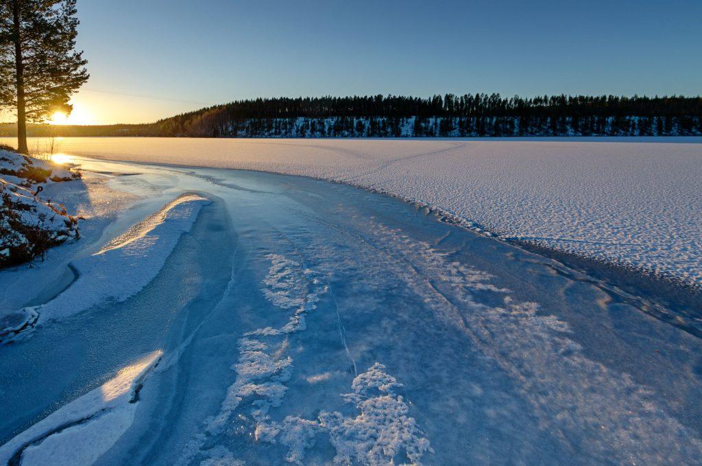 Luce della Lapponia Svedese in inverno