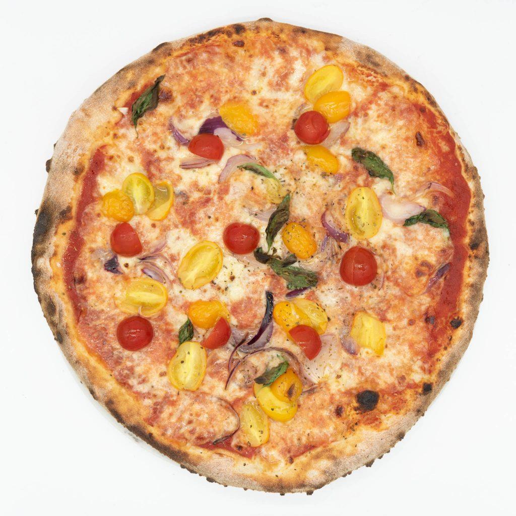 Food photography: pizza dall'alto (light box)